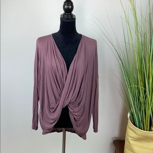 Dusty plum long sleeve twisted top